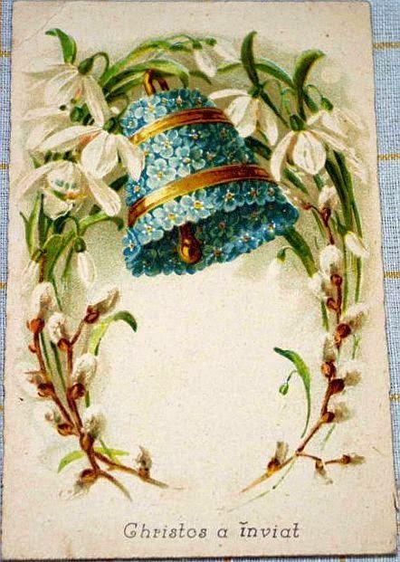 Paste vedere carte postala foto perioada interbelica imagine ghiocei si clopot din flori mesaj Cristos a inviat