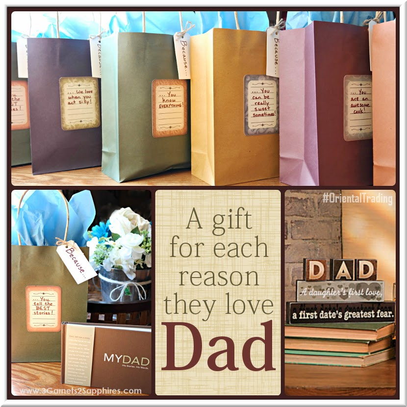 A gift for each reason they love Dad | Easy Father's Day craft tutorial by 3 Garnets & 2 Sapphires