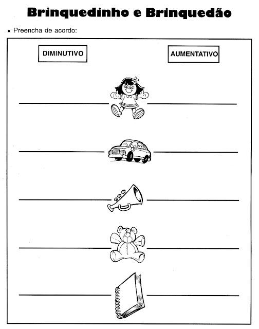Grau do substantivo aumentativo e diminutivo exercícios