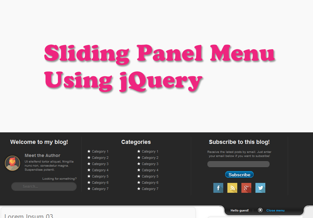 jQuery Sliding Panel with Expanding/Collapsing Content for