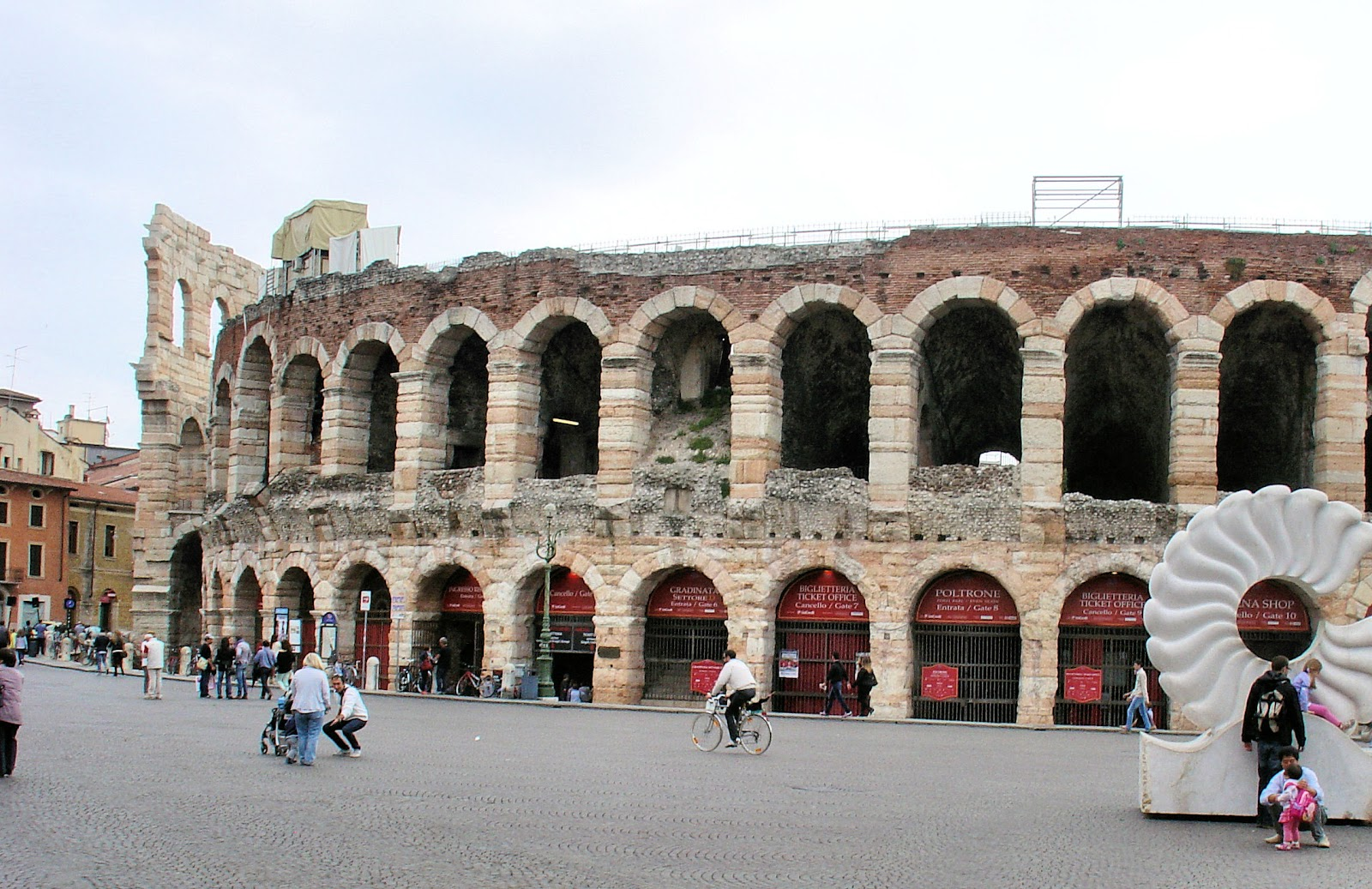 Verona Arena dates back to A.D. 30 and is built entirely of pink marble.