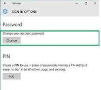 password change in windows 10