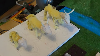 Photograph of three goat models with foam bodies and clay heads.