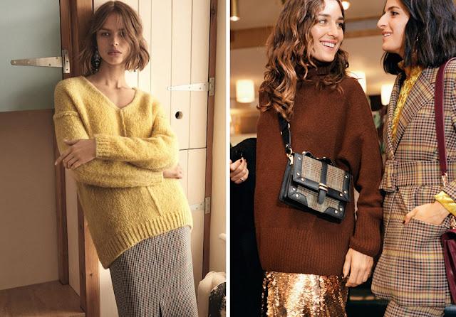 Желтый свитер оверсайз с юбкой карандаш в клетку и объемный коричневый свитер с юбкой с золотыми пайетками