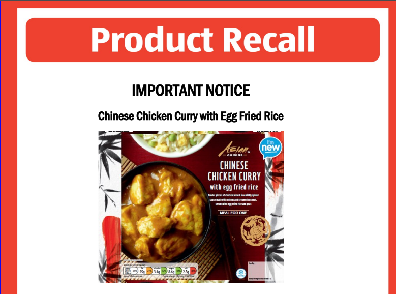 ALDI Recalls Chinese Chicken Curry due to Unlabeled Milk