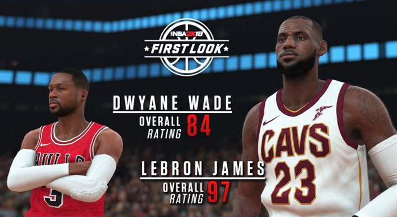 NBA 2K18 LeBron James Wade Rating