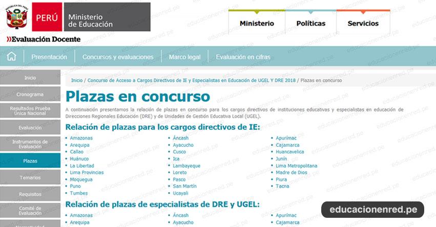 MINEDU: Plazas Concurso de Acceso a Cargos Directivos de IE y Especialistas de UGEL y DRE 2018 (Viernes 24 Agosto) www.minedu.gob.pe