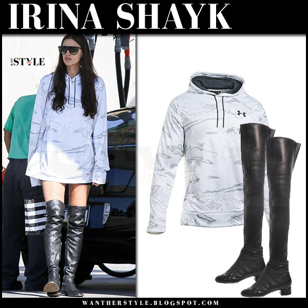 Irina Shayk in white camo print hoodie under armour and black boots what she wore