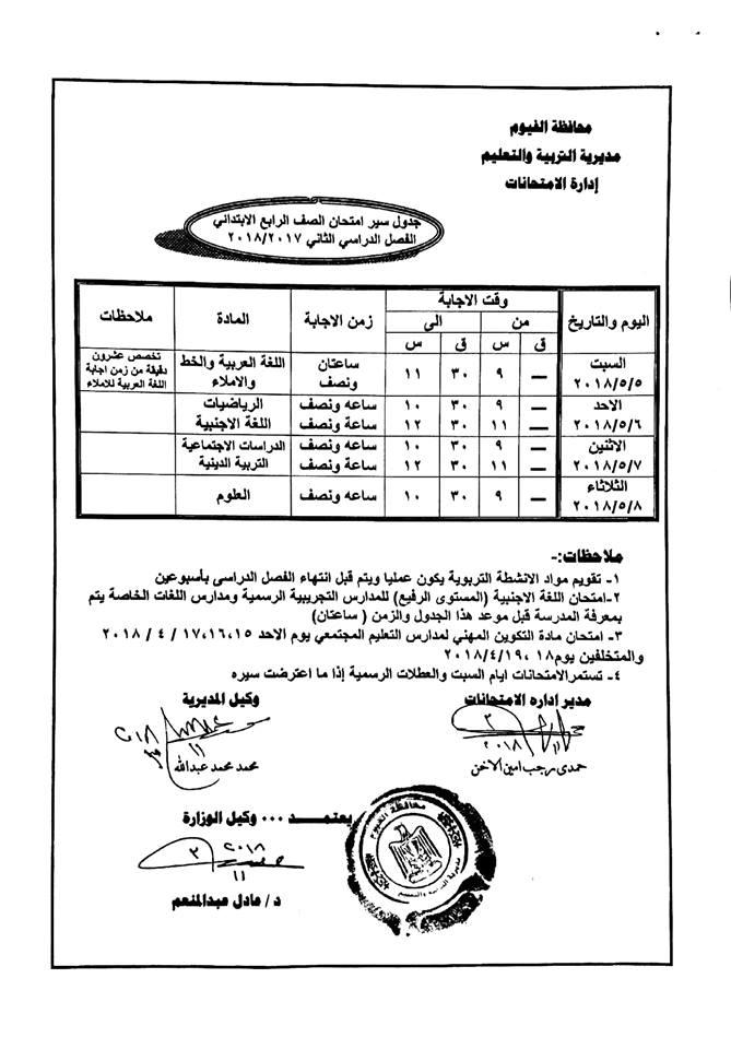 جدول امتحانات الصف الرابع الأبتدائي محافظة الفيوم 2018 الترم الثاني