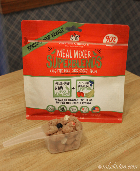 A bag of  yummy Stella & Chewy's Meal Mixer SuperBlends for dogs