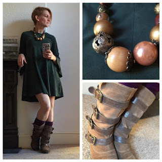 Mango dress and M&S buckle boots