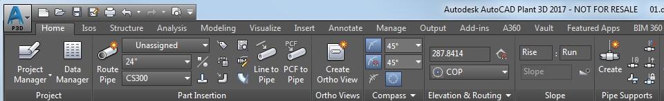 panel tuberías en AutoCAD Plant 3D