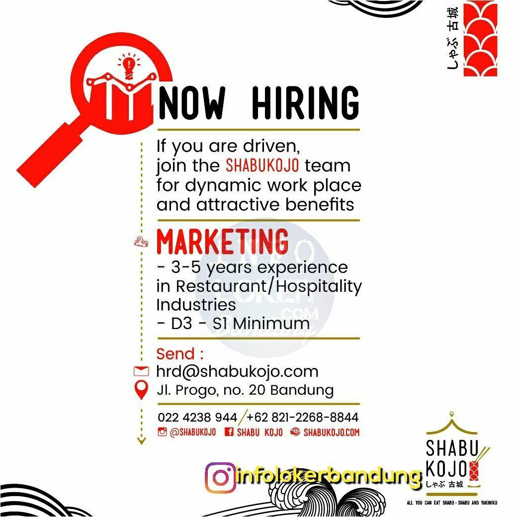 Lowongan Kerja Marketing Shabu Kojo Restaurant Jepang Bandung November 2017