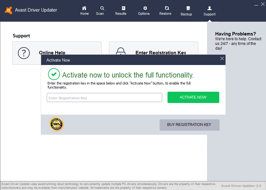 avast driver updater 2017 registration key