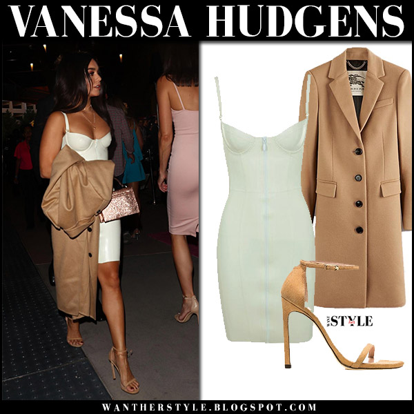 Vanessa Hudgens in bustier mini dress and camel coat burberry celebrities in dresses august 26 2017