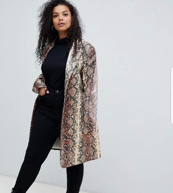 UNIQUE21 Hero Plus oversized coat in snake print €31.99