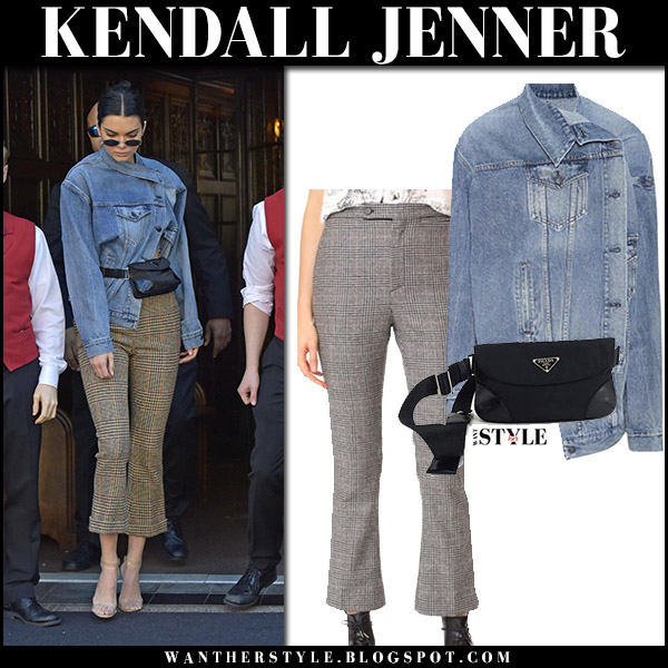 Kendall Jenner in denim jacket and cropped check print ...