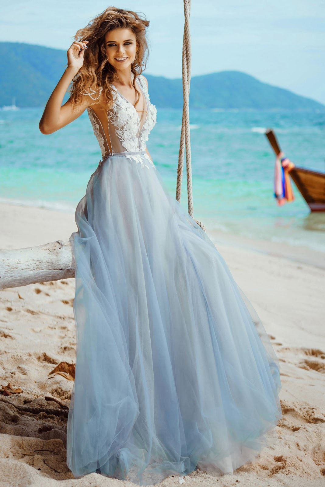 bb4b3ce5d44e Bohemian madness sheer Ivory lace top sky blue tulle wedding bridal ball  Gowns floor length maxi backless open back sheer through for your sexy  hottest look ...