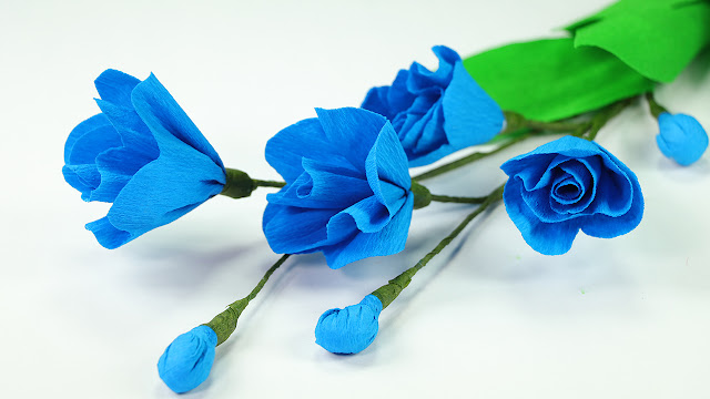 How to Make Crepe Paper Flowers - DIY Blue Poppy Flower Craft Step by Step Tutorial