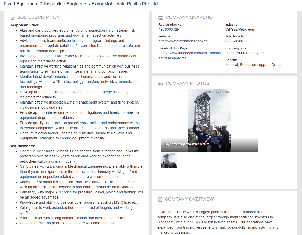Oil Gas Vacancies Fixed Equipment  Inspection Engineers  ExxonMobil Singapore