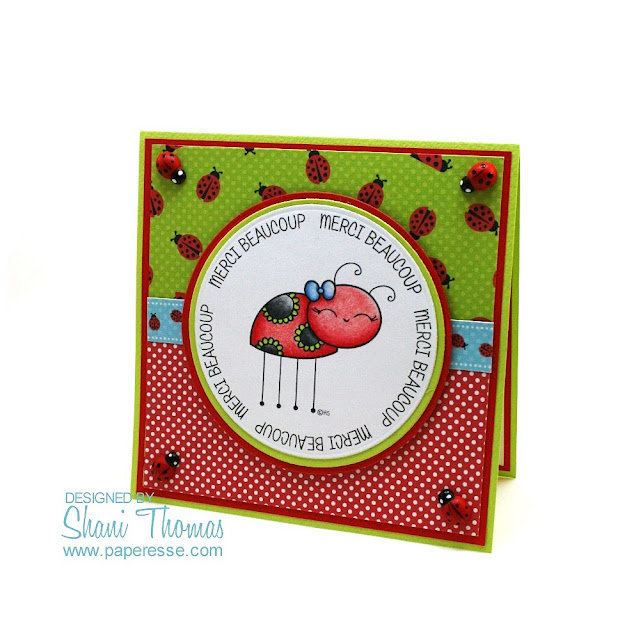 Quick Merci/Thank You card with 2 Cute Ink digital stamp and free Shery K digital paper pack, design by Paperesse.