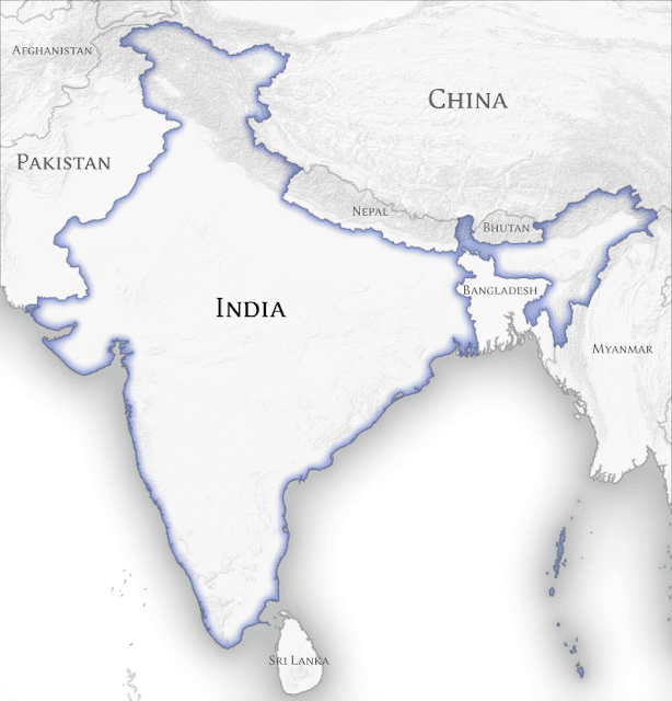 India and its neighbouring countries map