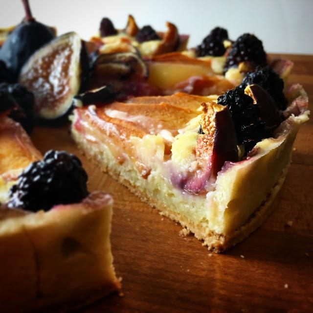 Slices of Seasonal Fruit Frangipane Tart
