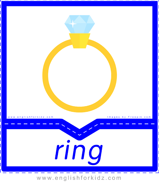 Finger ring - English clothes and accessories flashcards for ESL students