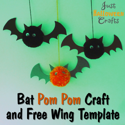 Pom pom craft hanging Halloween bats