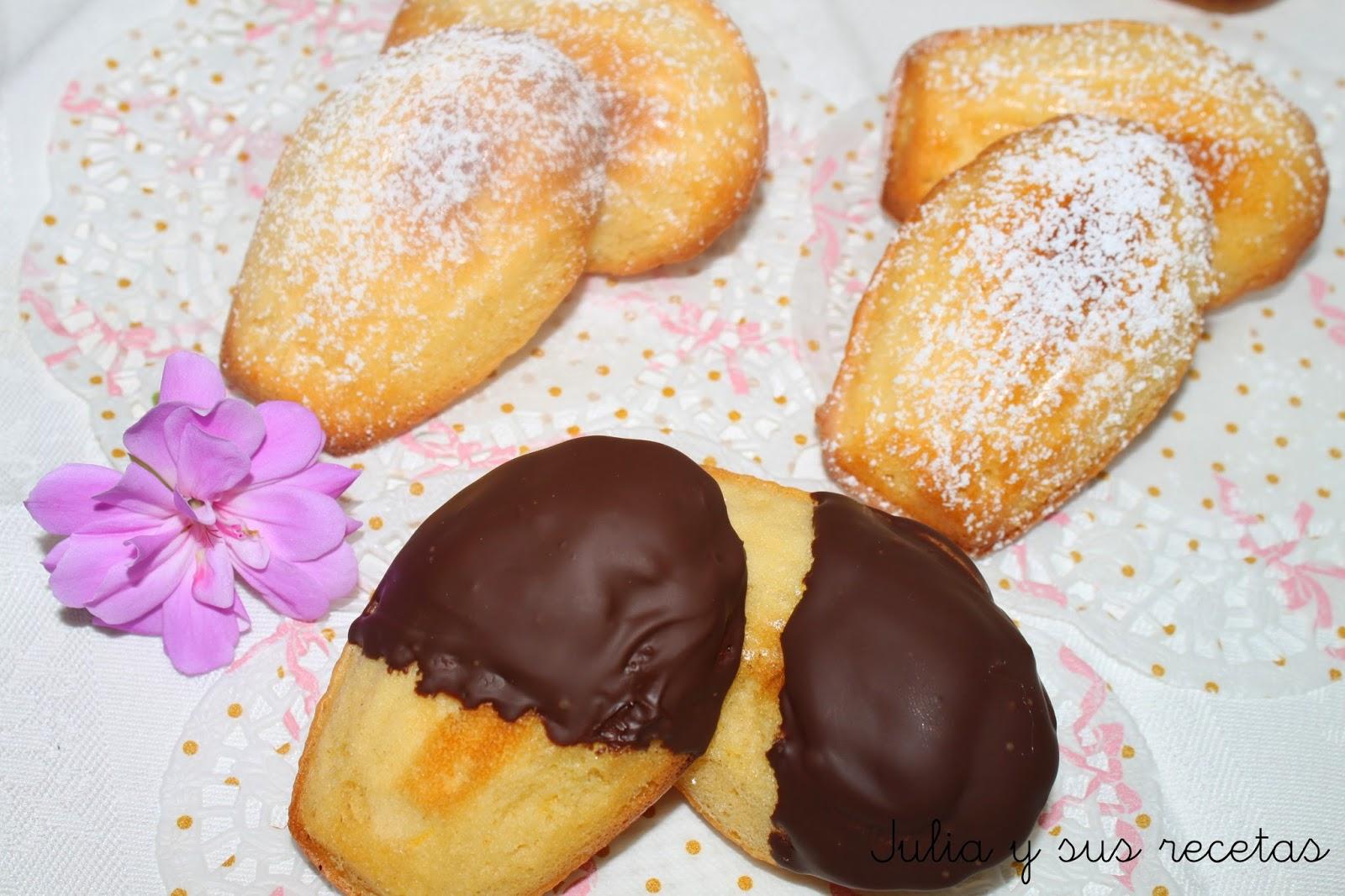 Madeleines con azúcar glas y chocolate. Julia y sus recetas