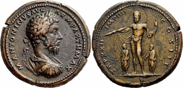 Medallón de bronce del emperador romano Marco Aurelio