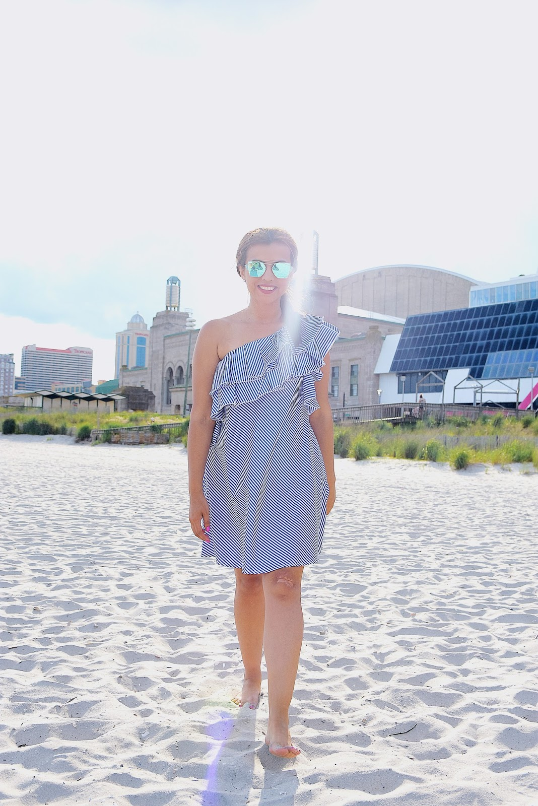 Off shoulder Ruffle Mini Dress by Mari Estilo. Wearing: Dress: Romwe Sunnies: Zaful