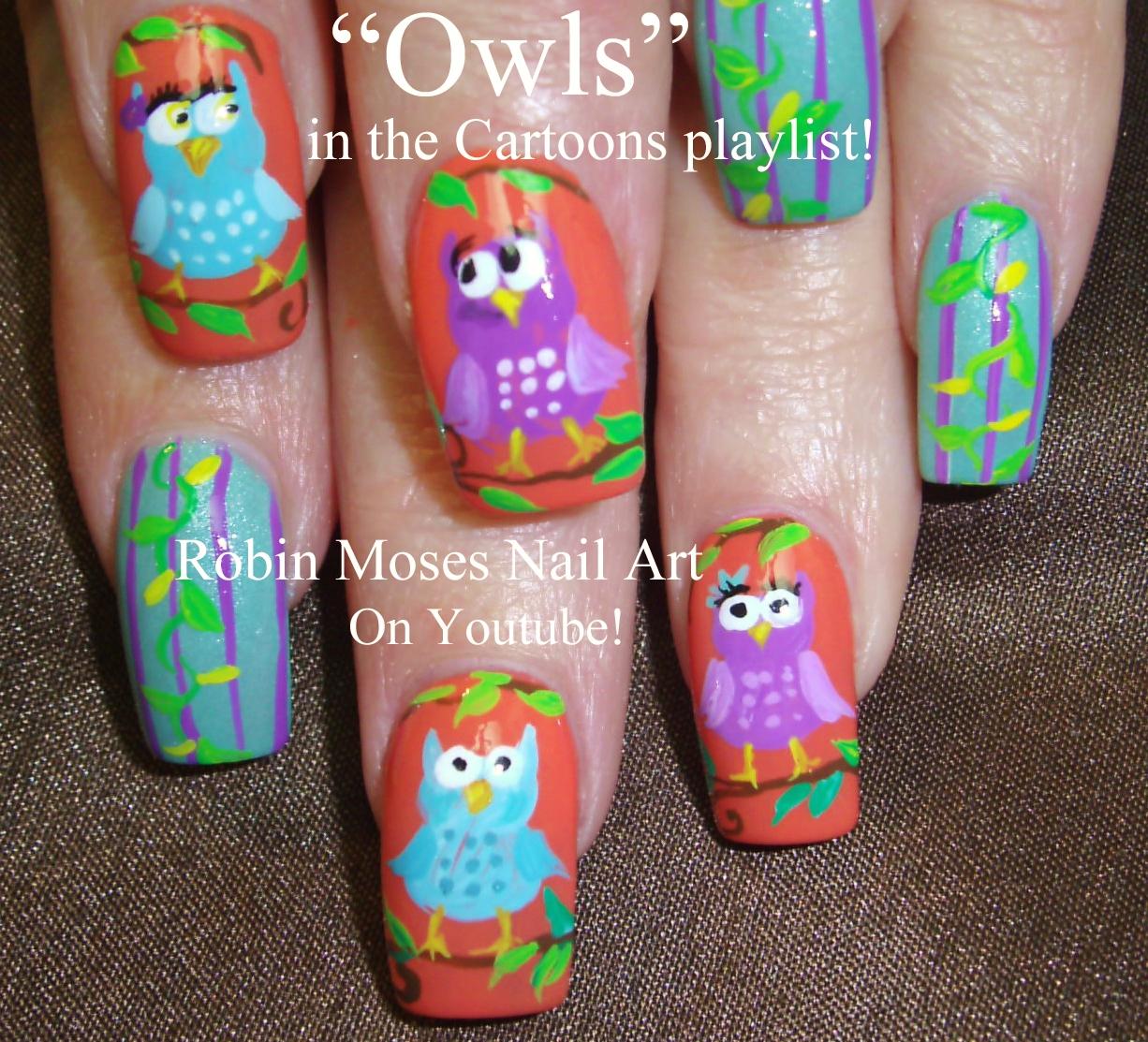 Robin Moses Nail Art Designs: Robin Moses Nail Art: Spring Owl Nail Art Design Tutorial