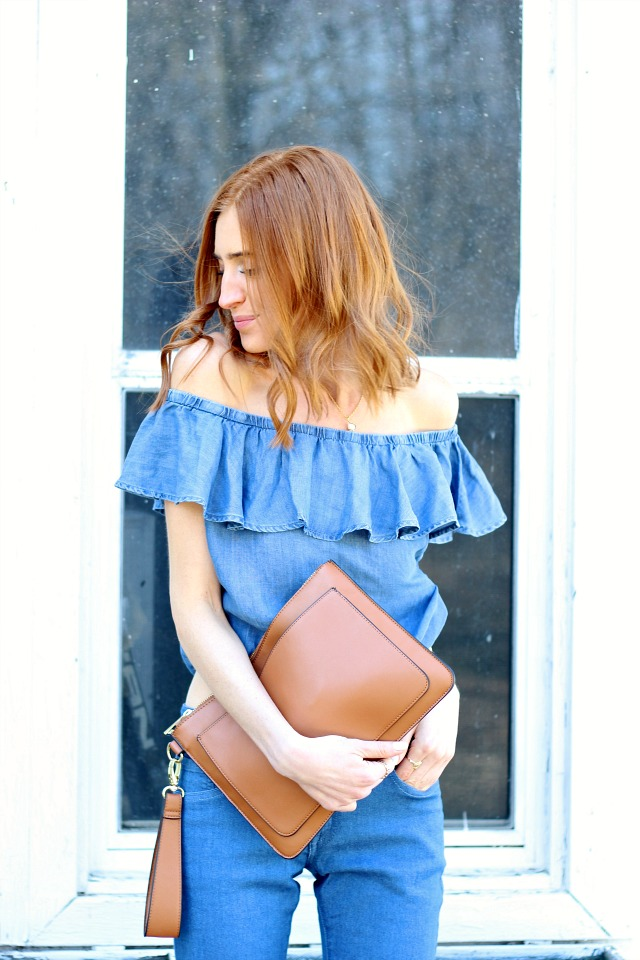 Off the shoulder denim, brown clutch