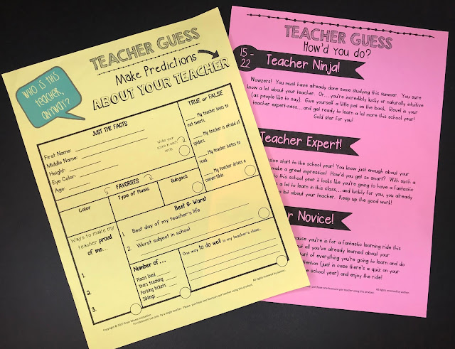 Help students get to know their teacher with this fun back to school activity!