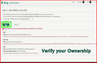 Verify your site to Bing Webmaster tools