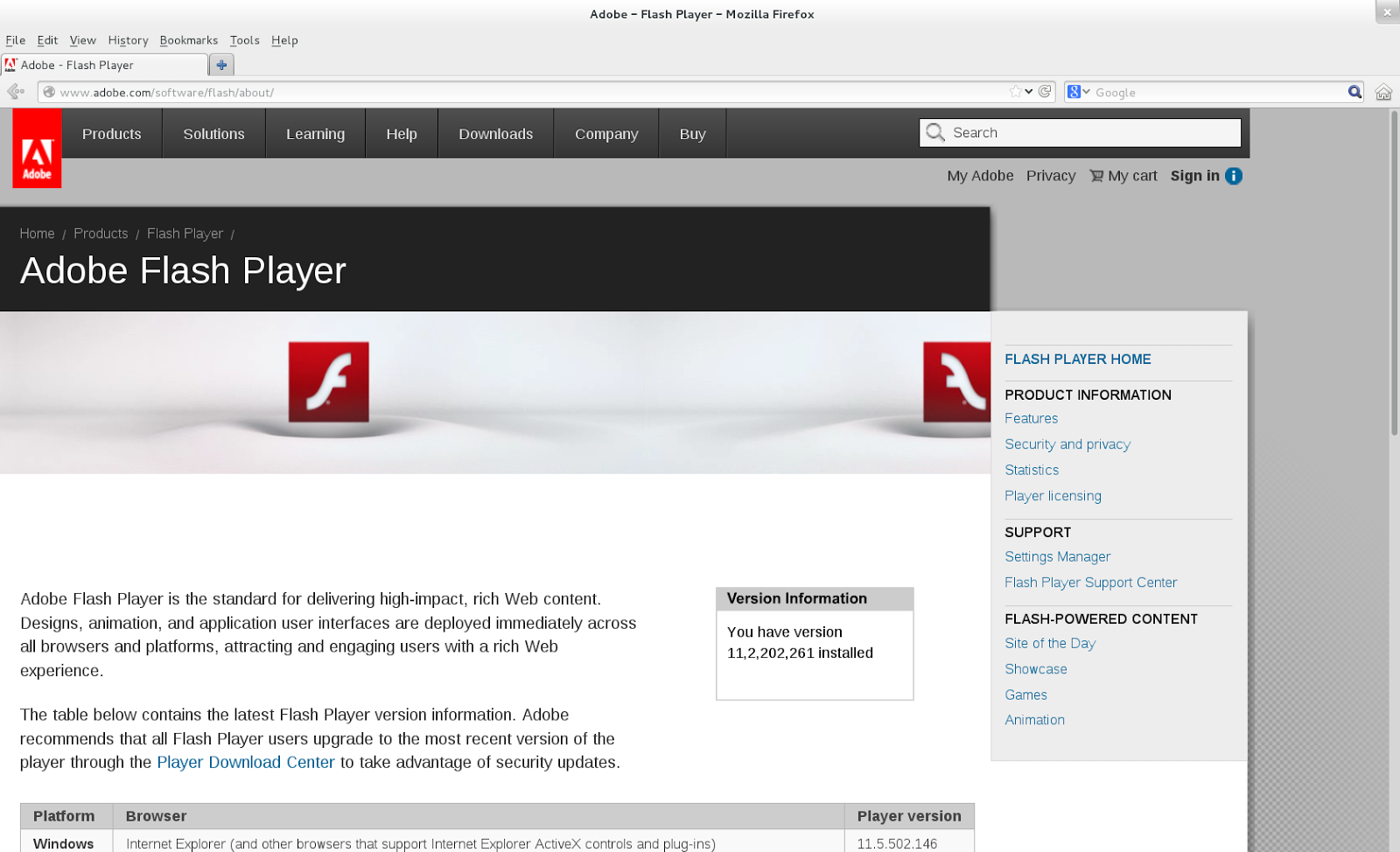 adobe flash player version 1004234