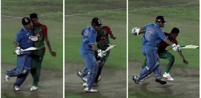 dhoni hits the bowler