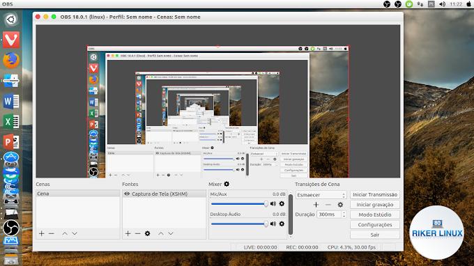 Para gravação de tela, instale o Open Broadcaster  (OBS Studio) no Linux