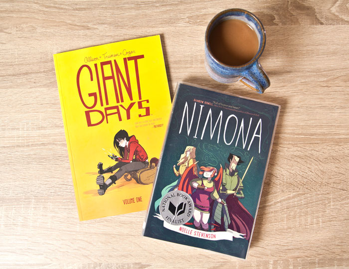 Picture of graphic novels Nimona and Giant Days