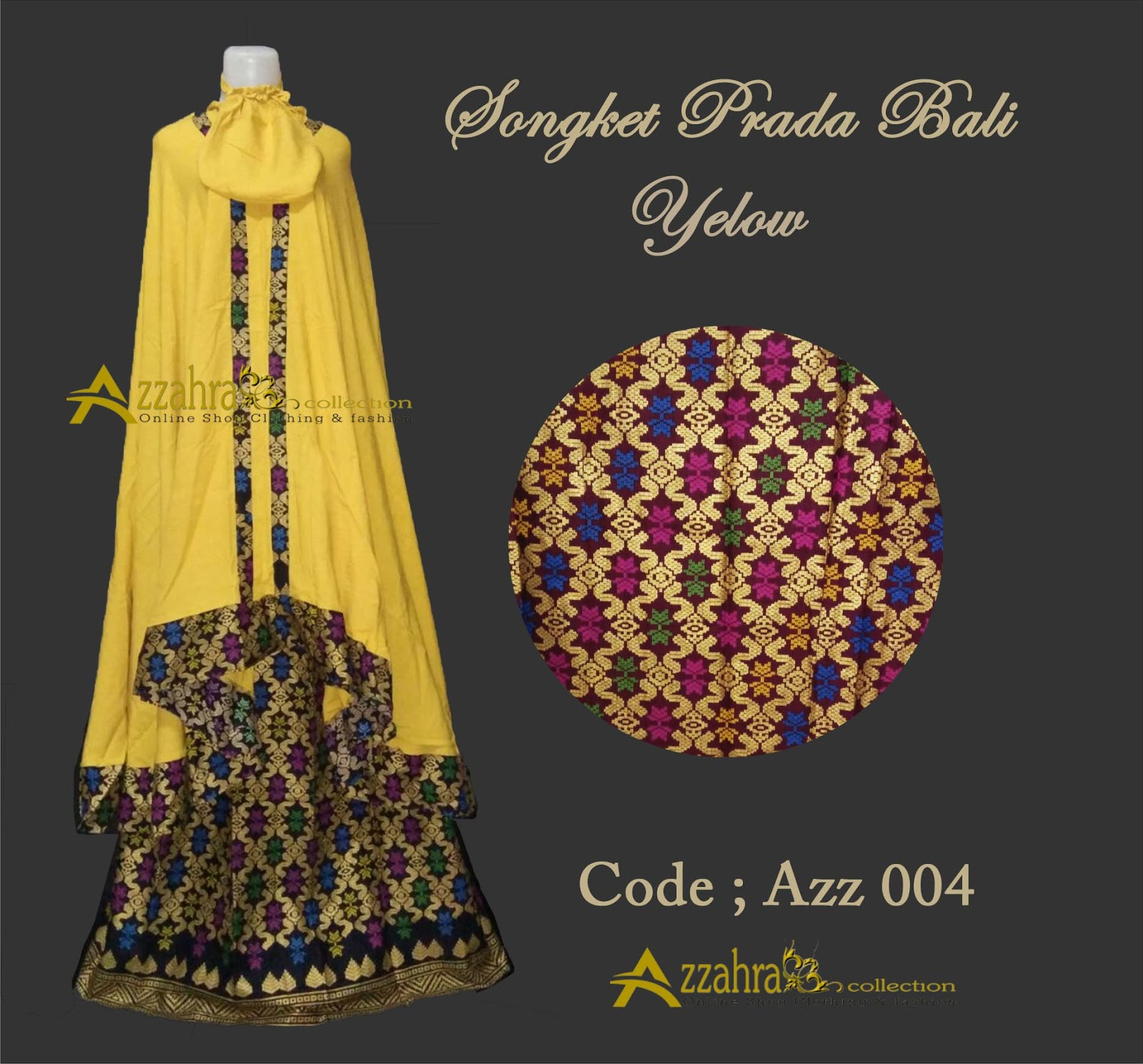 Gambar Mukena Prada Bali Yelow Kuning Gold