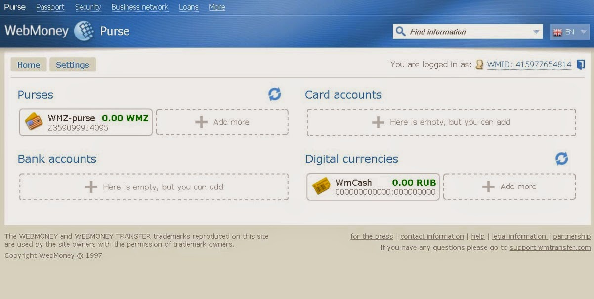 WebMoney Account Transfer Screen