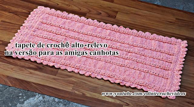 tapete croche alto relevo salmão euroroma edinir croche videos youtube aprender croche blog curso de croche facebook