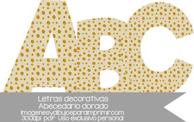 Letras para imprimir a color doradas