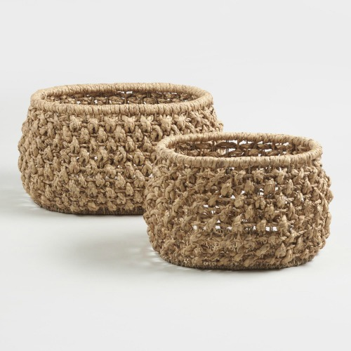 Natural hyacinth baskets under $25