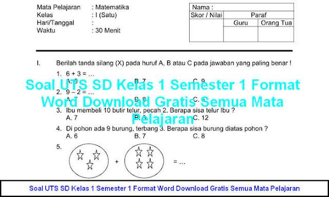 Download Soal UTS SD Kelas 1 Semester 1