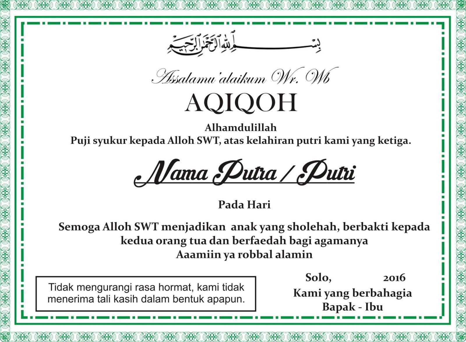 34+ Contoh kartu ucapan aqiqah untuk orang dewasa terbaru yang baik