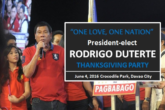 President-elect Rodrigo Duterte's Thanksgiving Party