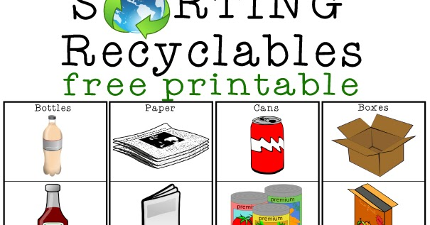 Recycling Sorting Free Printable | Totschooling - Toddler ...