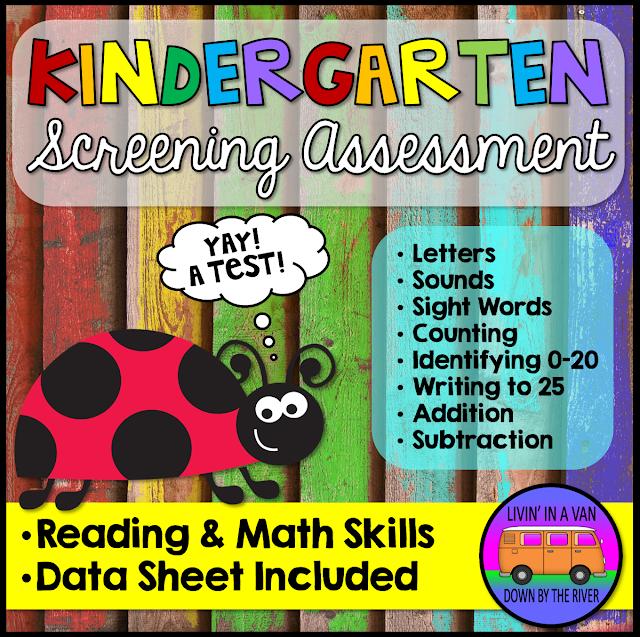 kindergarten assessments, kindergarten screening, tpt